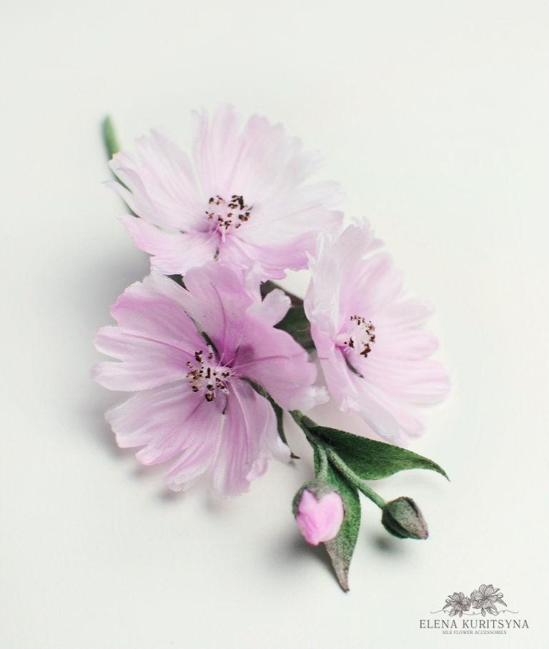 Цветы из шелка «Сидальцея», фото № 2