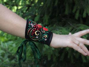 Новинка! Текстильный браслет с вышивкой Хохломские завитушки + мастер-класс!. Ярмарка Мастеров - ручная работа, handmade.