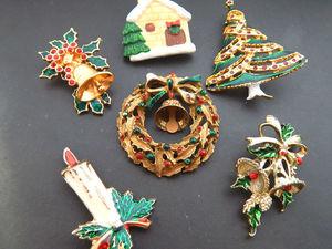 Винтажные новогодние броши. Ярмарка Мастеров - ручная работа, handmade.
