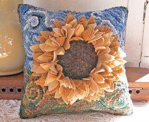 Sunflower Hooked Pillow