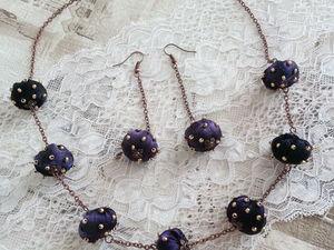 Комплект украшений — бусы и серьги из шелка. Ярмарка Мастеров - ручная работа, handmade.