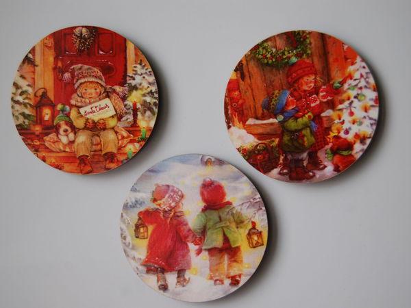 Магниты Новогодние на деревянной основе. Часть 1 | Ярмарка Мастеров - ручная работа, handmade