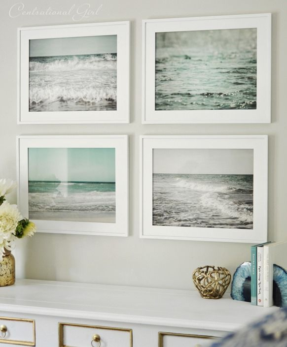 set of framed beach prints. What a fresh alternative to framed prints of shells or fish to convey 'Beach!' Love this.