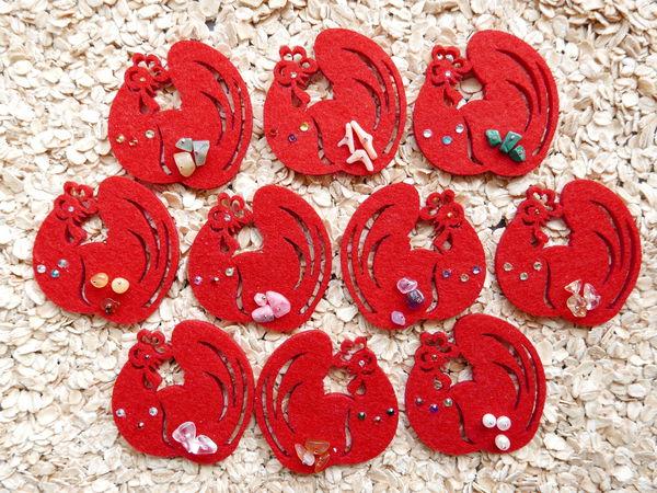 Снова новогодние сувениры. на этот раз Петушки-магниты | Ярмарка Мастеров - ручная работа, handmade