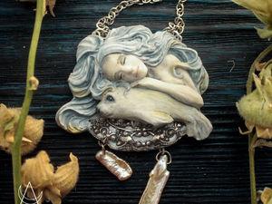 Тихий океан. Колье ручной работы из полимерной глины с жемчугом. Ярмарка Мастеров - ручная работа, handmade.