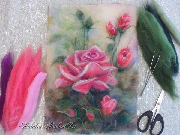 Мастер-класс по живописи шерстью. Розы и Подсолнухи | Ярмарка Мастеров - ручная работа, handmade