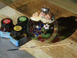 Расписываем елочный шарик: витражная роспись и объемный декор. Ярмарка Мастеров - ручная работа, handmade.