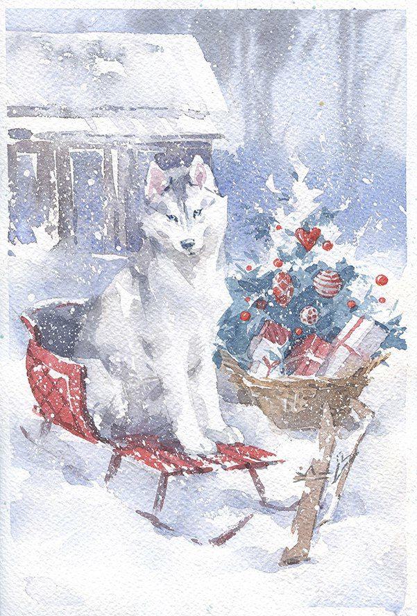 акварельная открытка, открытки зима, картина собака