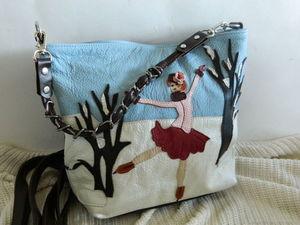 ПРОДЛЕН! Аукцион на кожаную сумочку с аппликацией. Старт 1500р. Ярмарка Мастеров - ручная работа, handmade.