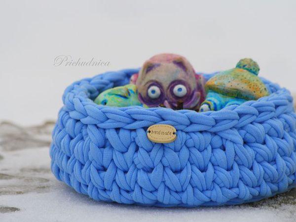 Совы в голубой корзинке - набор керамики в вязаной корзинке | Ярмарка Мастеров - ручная работа, handmade