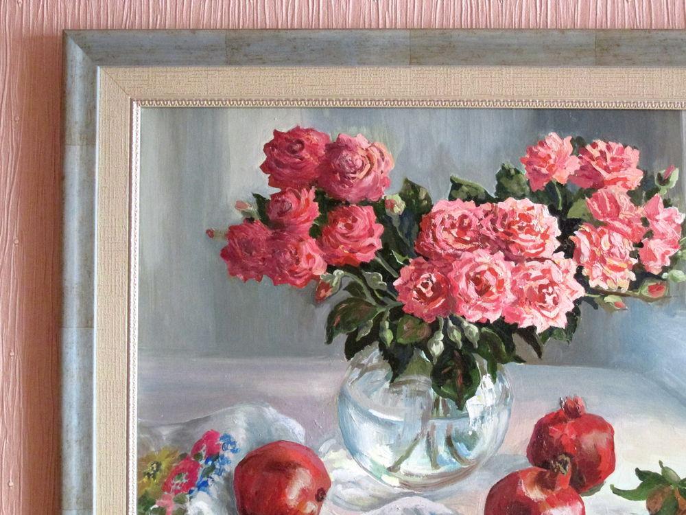 картина для интерьера, натюрморт с цветами, гранаты, мандарины, живопись своими руками, картина купить, ярмарка мастеров, багет