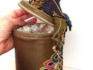 Авторская сумка цилиндр, Перо павлина.. Ярмарка Мастеров - ручная работа, handmade.