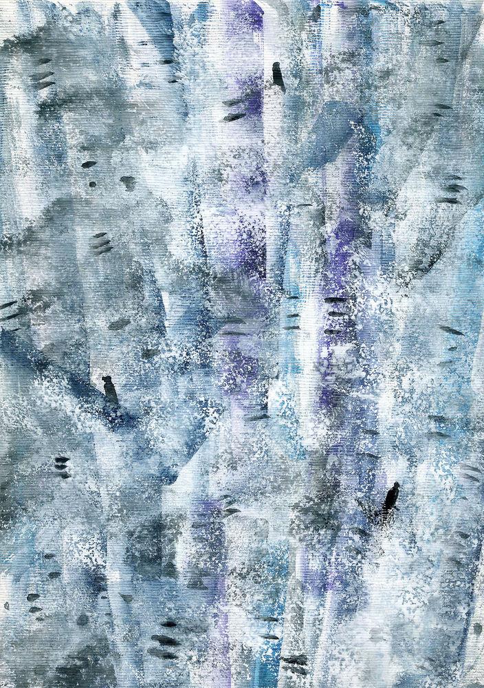 цдх, абстракция, акварельная картина, голубой, нежная картина, пейзаж