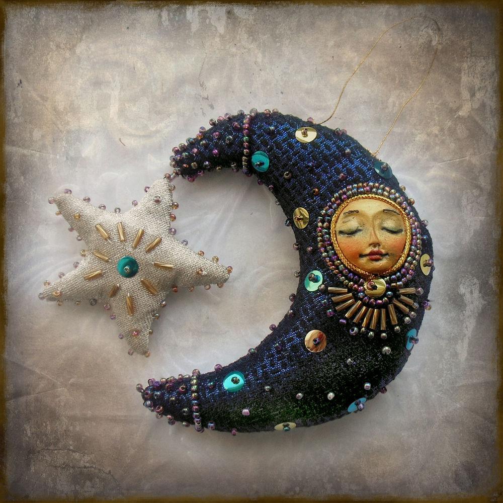 новогодний декор, месяц, звездная ночь, для дома