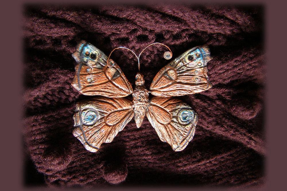 брошь бабочка, бижутерия из глины