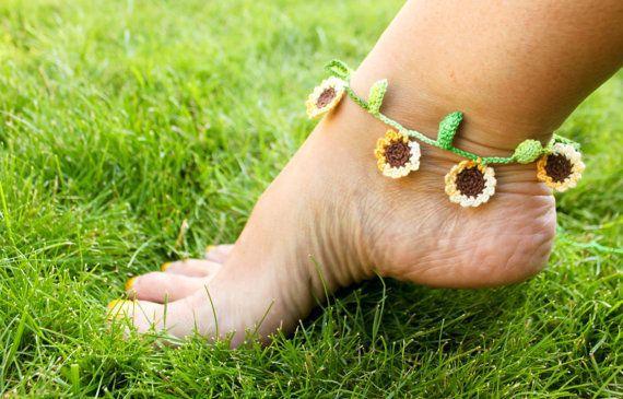 Sunflower Ankle Bracelet Crochet by smileywileys on Etsy