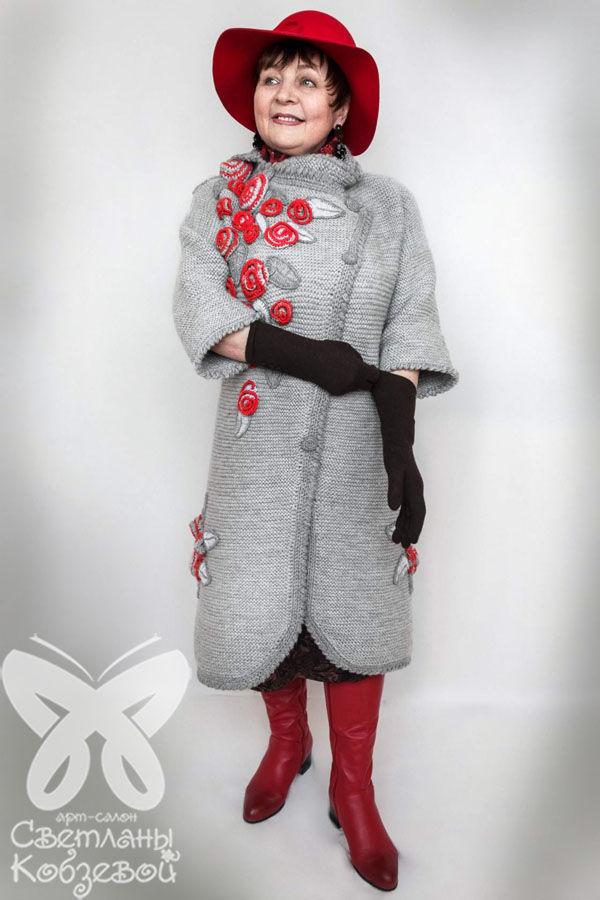 вязание спицами, розы, модная одежда