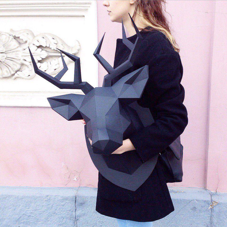 полигональная скульптура, единорог