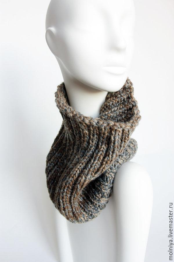 шарф мужской вязаный, шарф труба