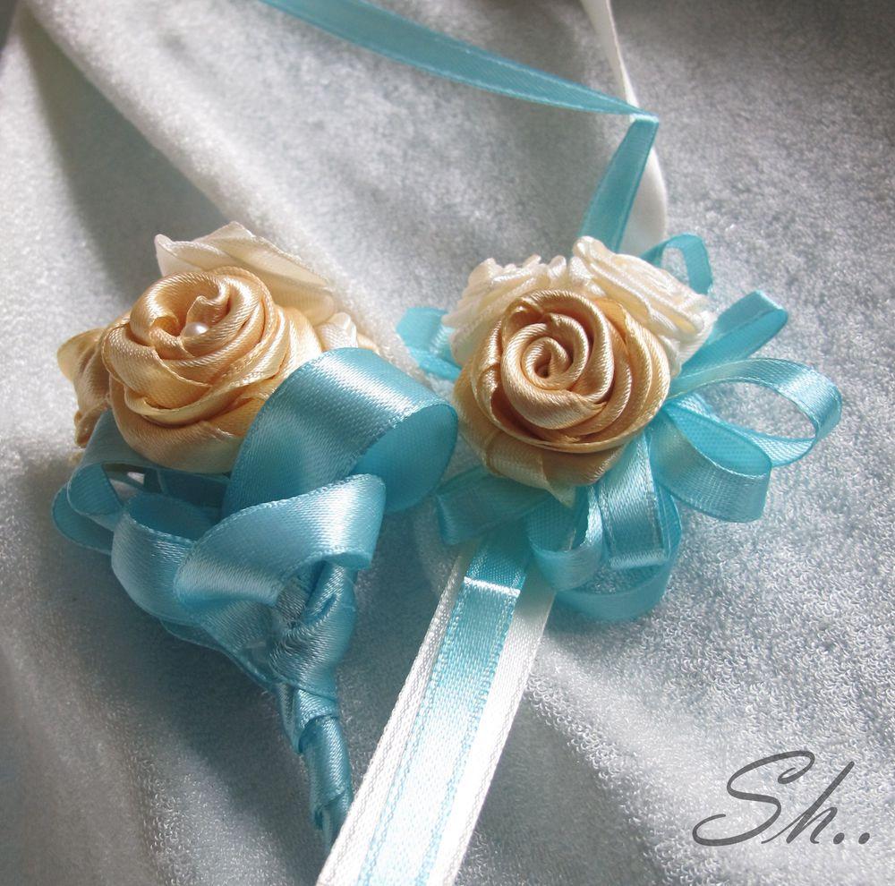 цветы из лент, браслет для подружки
