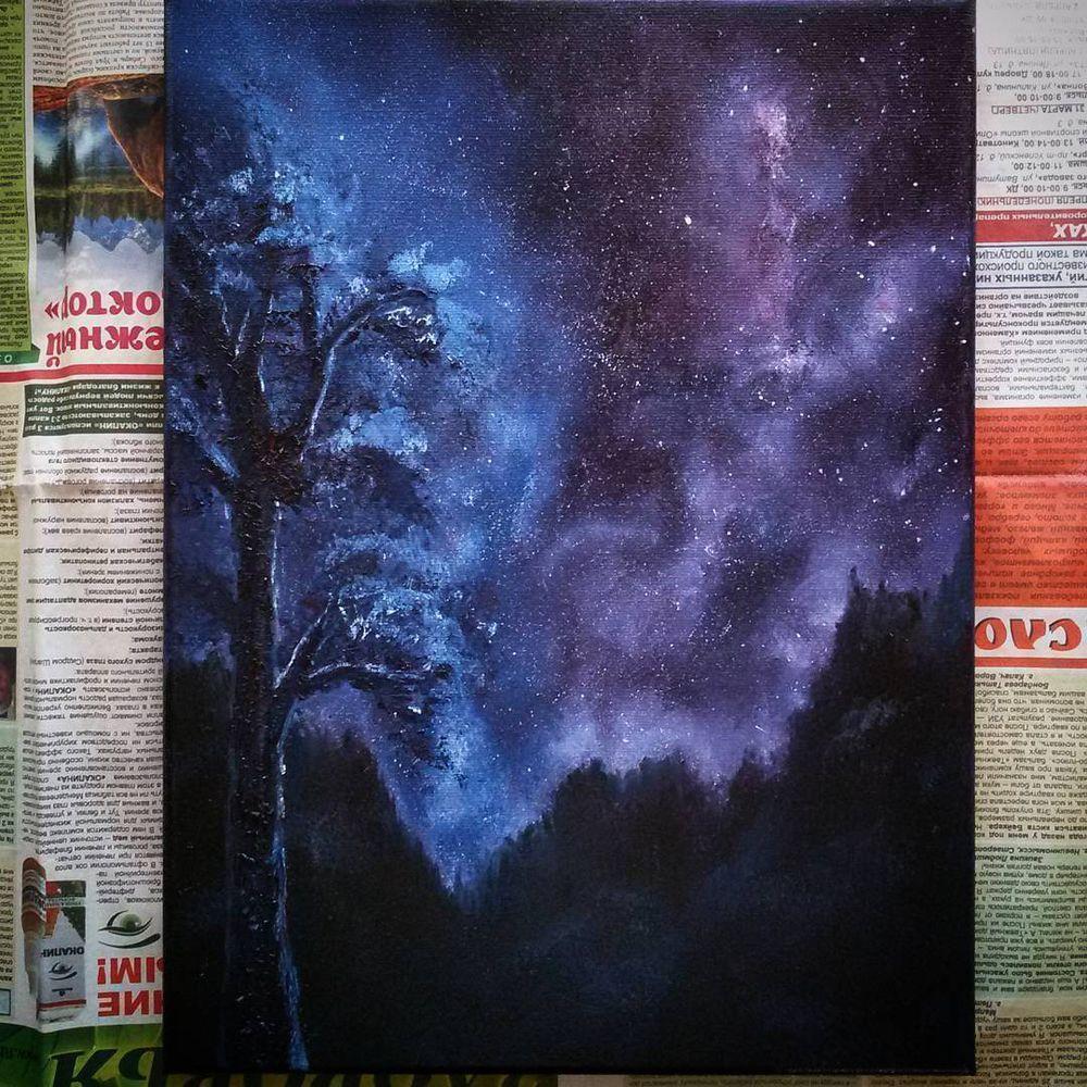 картина маслом, пейзаж маслом, ночь, рисование маслом, живопись маслом, видеоролик, картина, пейзаж, ночной пейзаж, звезды, ночное небо, звездное небо, живопись, как нарисовать