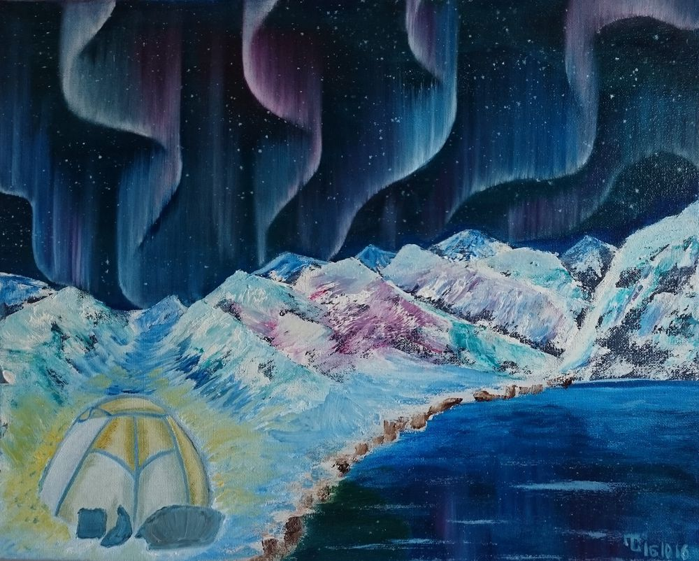 картина, картина северное сияние, тёмно-синий