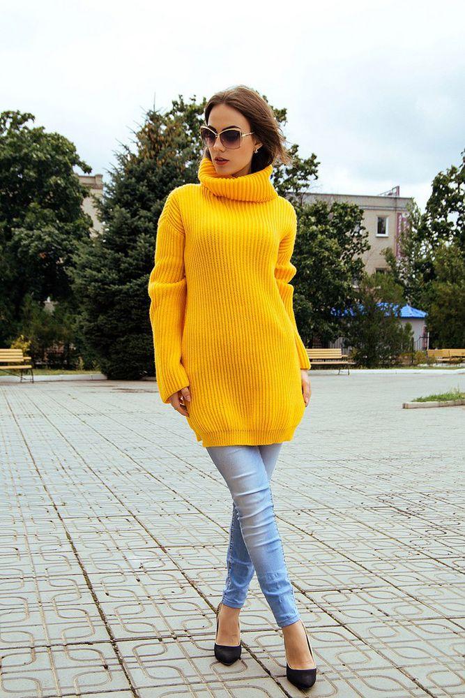женский свитер, ярко-желтый