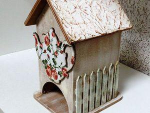 «УЮТНОЕ КАНТРИ» чайный домик с накладными элементами и «плетёной» крышей скидка!   Ярмарка Мастеров - ручная работа, handmade