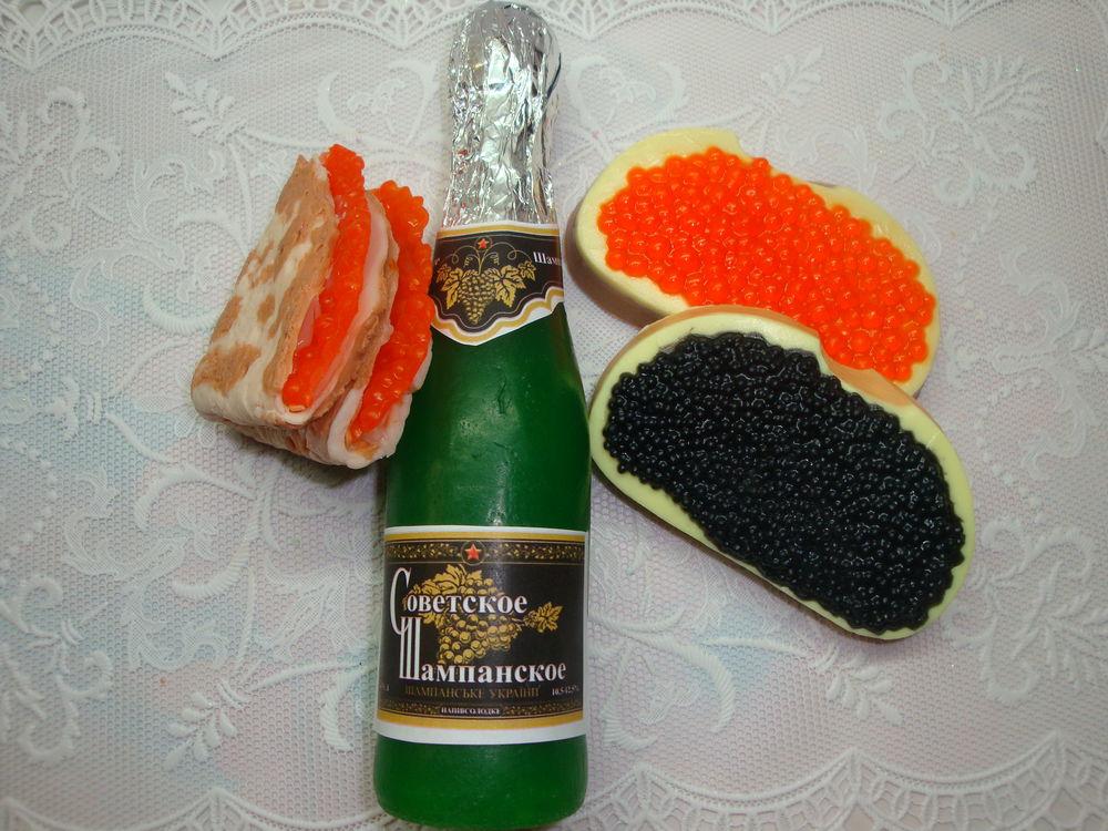 шампанское, праздник, бутылка, блинчик с икрой
