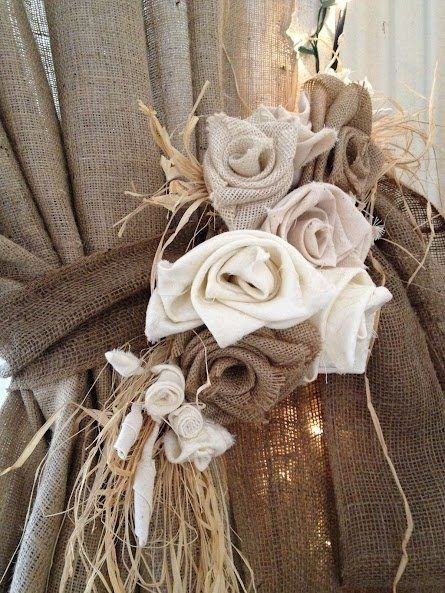 burlap curtains with roses