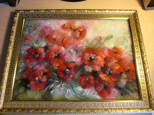 Картина из шерсти Маки | Ярмарка Мастеров - ручная работа, handmade