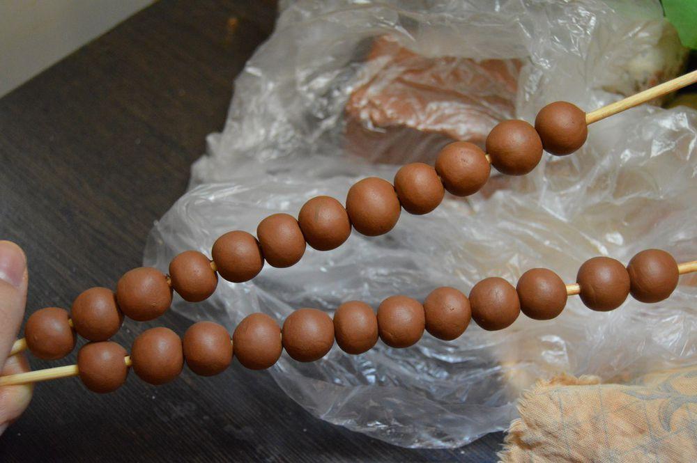 бусины, сырые бусины, глиняные бусины, рожки, керамика ailandas