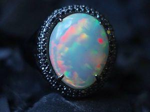 """Кольцо """"Императрица"""" с Опалом и черными бриллиантами. Ярмарка Мастеров - ручная работа, handmade."""