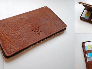 Кошелек leather_2_brown с прочной молнией по периметру | Ярмарка Мастеров - ручная работа, handmade
