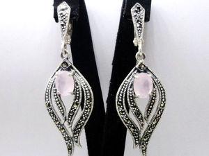 Аукцион на серебряные серьги ручной работы розовый кварц Ласточка. Ярмарка Мастеров - ручная работа, handmade.