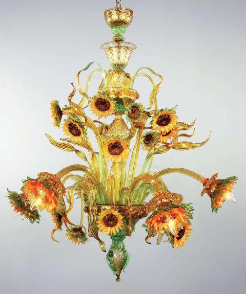 Murano Glass Amber Green Sunflower Chandelier