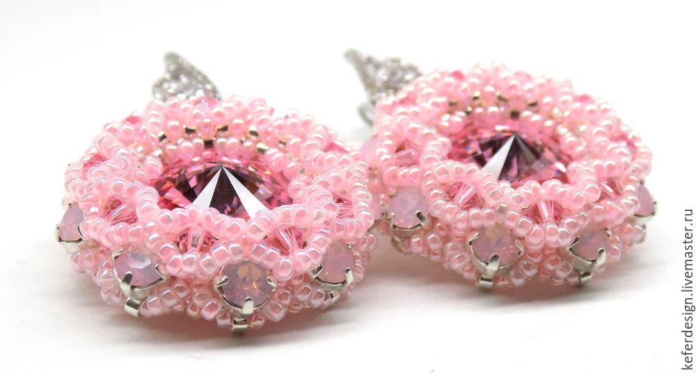 Серьги ручной работы «Цветущая сакура» из кристаллов Swarovski: процесс создания, фото № 18
