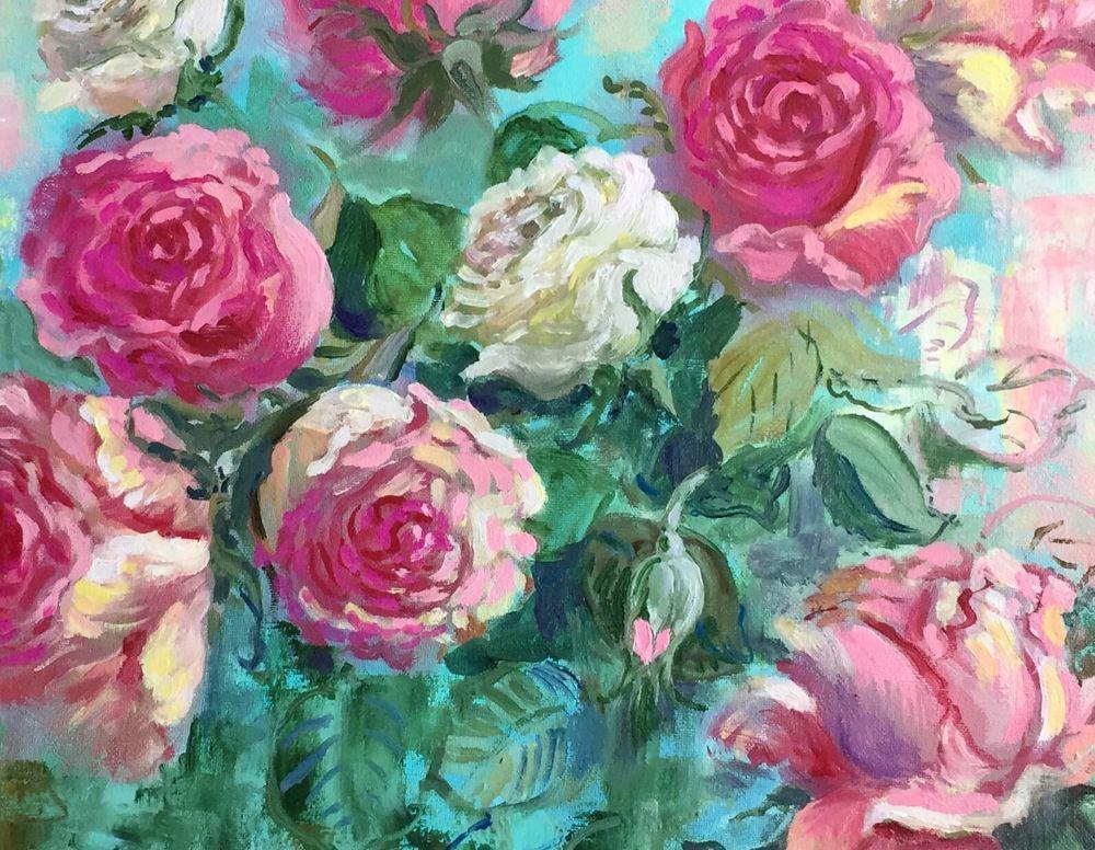 розы, картина ручной работы