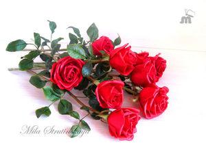 Красные розы из холодного фарфора | Ярмарка Мастеров - ручная работа, handmade