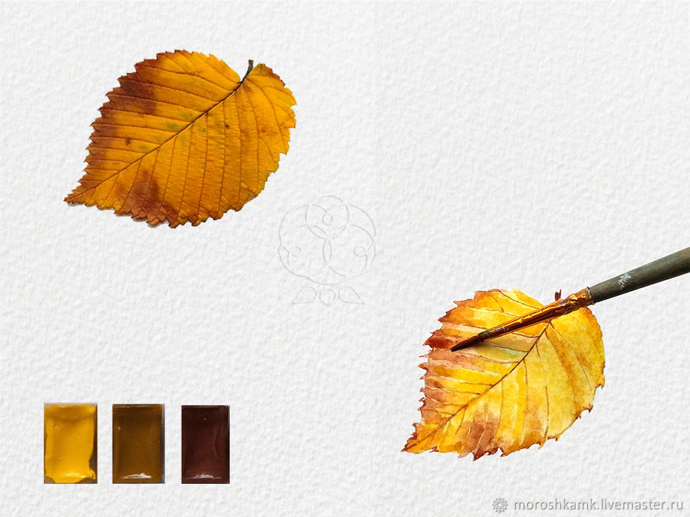 Drawing an Autumn Leaf with Watercolours, фото № 15