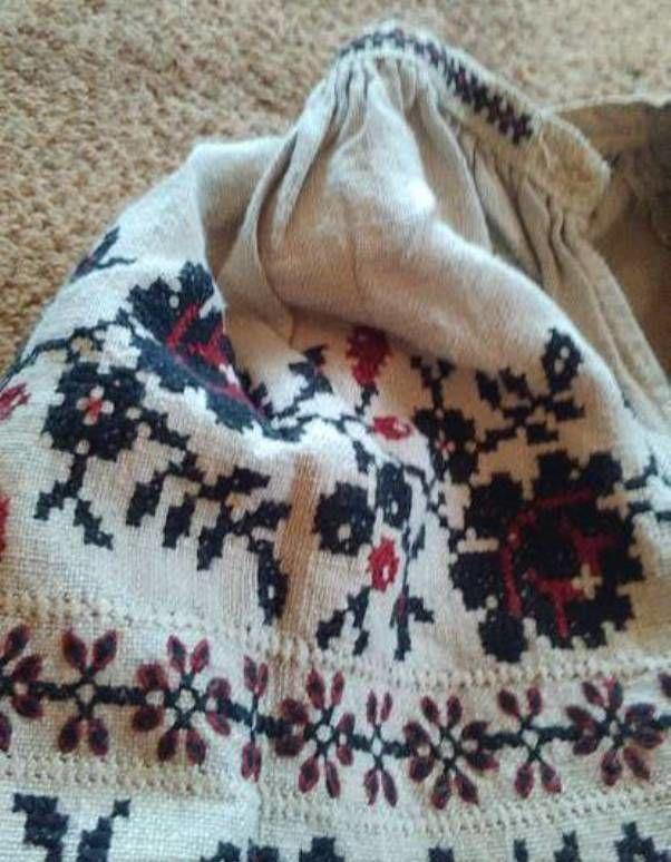 конопляная рубаха, ручная вышивка, ручная вышивка крестом