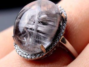Пепельные рутиловые кварцы в кольцах из серебра!. Ярмарка Мастеров - ручная работа, handmade.