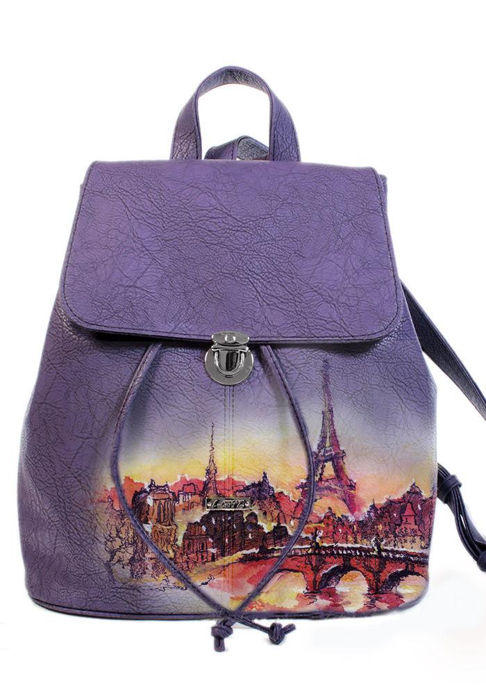 рюкзак городской, рюкзак с росписью, рюкзак фиолетовый