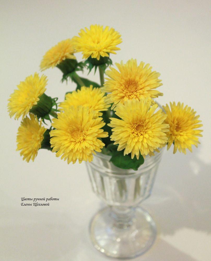 полимерная флористика, одуванчики, лепка цветов, лепка из пластики, мастер-класс по лепке