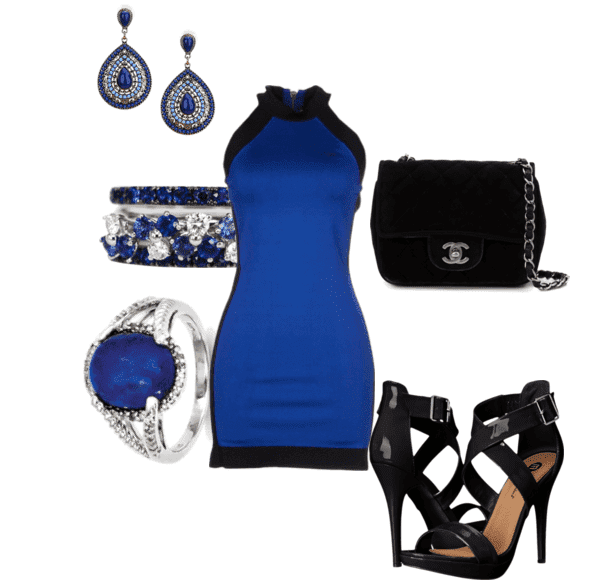 синее платье красные аксессуары фото стирке