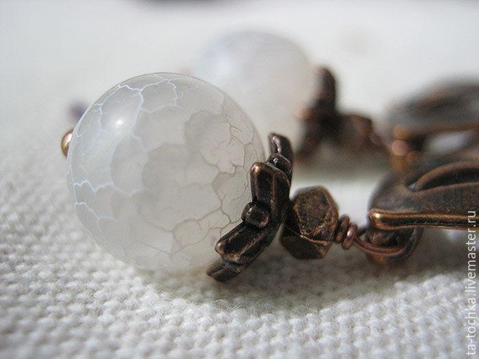 серьги, коллекционное украшение, мятный