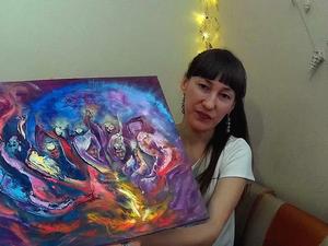 """Видео с картиной """"Ангелы в космосе"""" и процесс ее создания. Ярмарка Мастеров - ручная работа, handmade."""