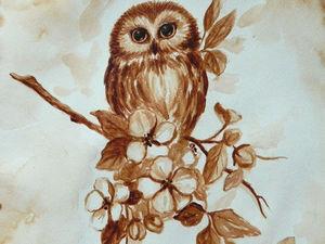 Видео мастер-класс: рисуем кофейную сову. Ярмарка Мастеров - ручная работа, handmade.