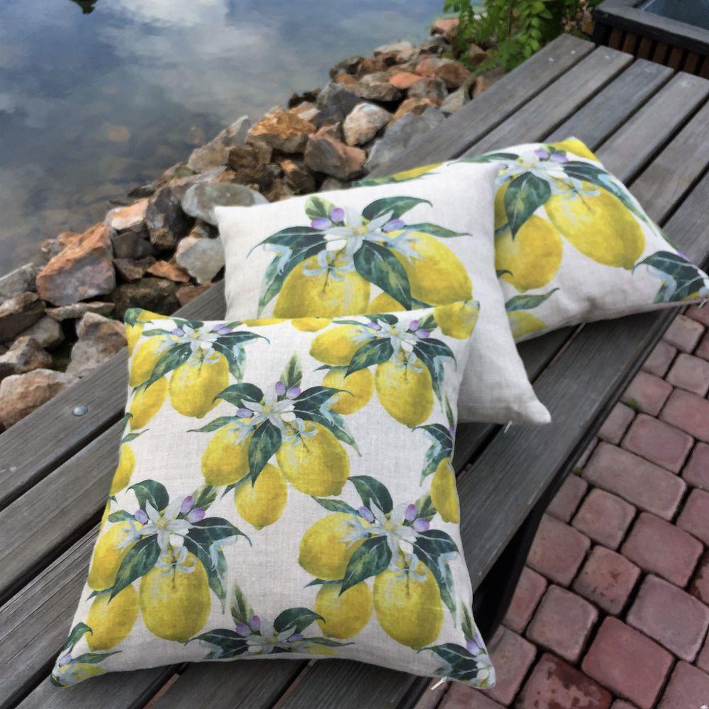 подушки, подарок подруге, оформление интерьера, натуральный лён