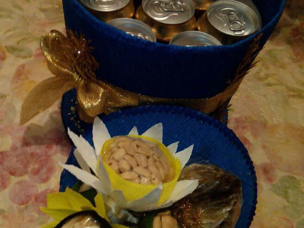 торт из пива, арахиса, рыбки,  кальмаров | Ярмарка Мастеров - ручная работа, handmade